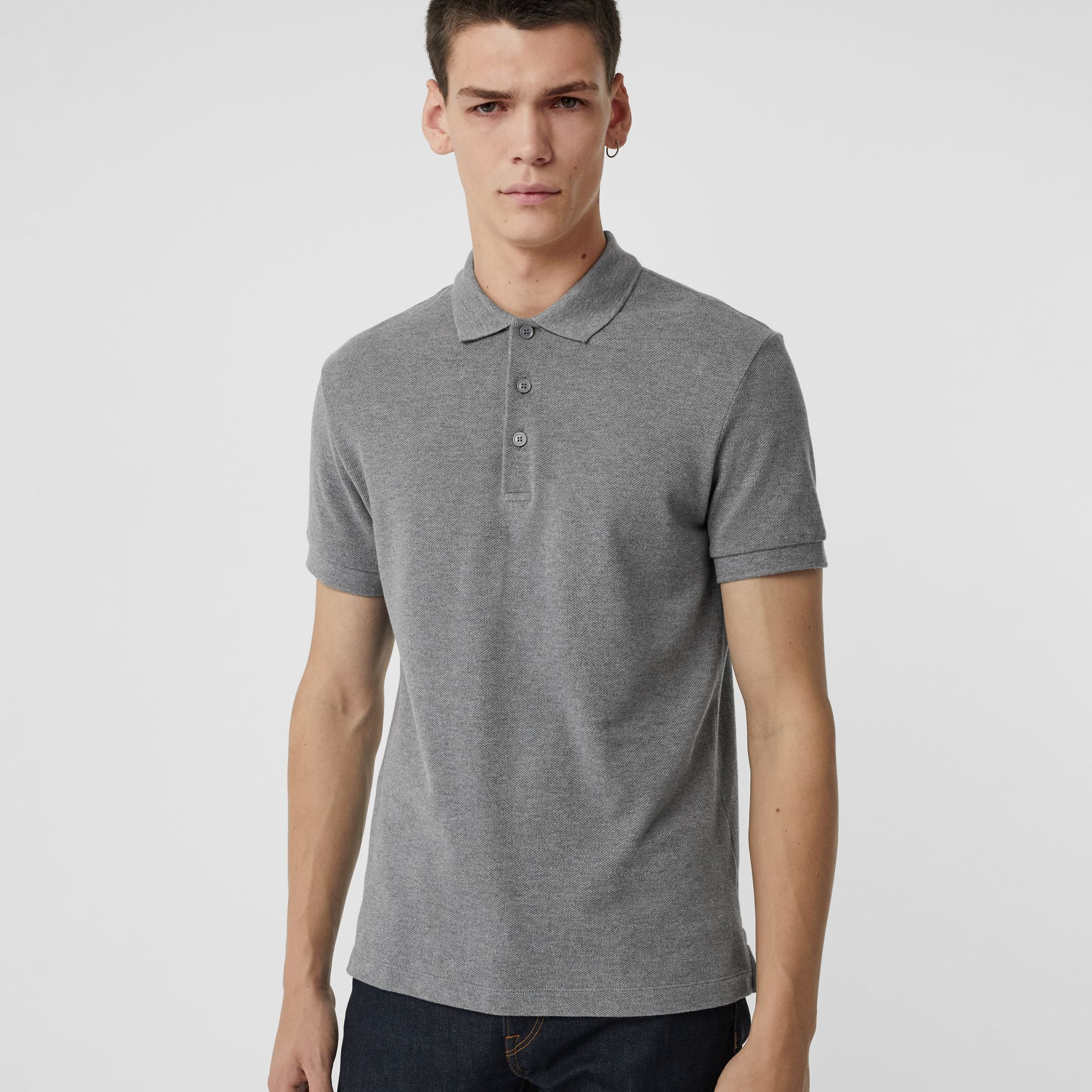 Check Placket Cotton Polo Shirt in Mid Grey Melange - Men | Burberry Singapore - gallery image 4