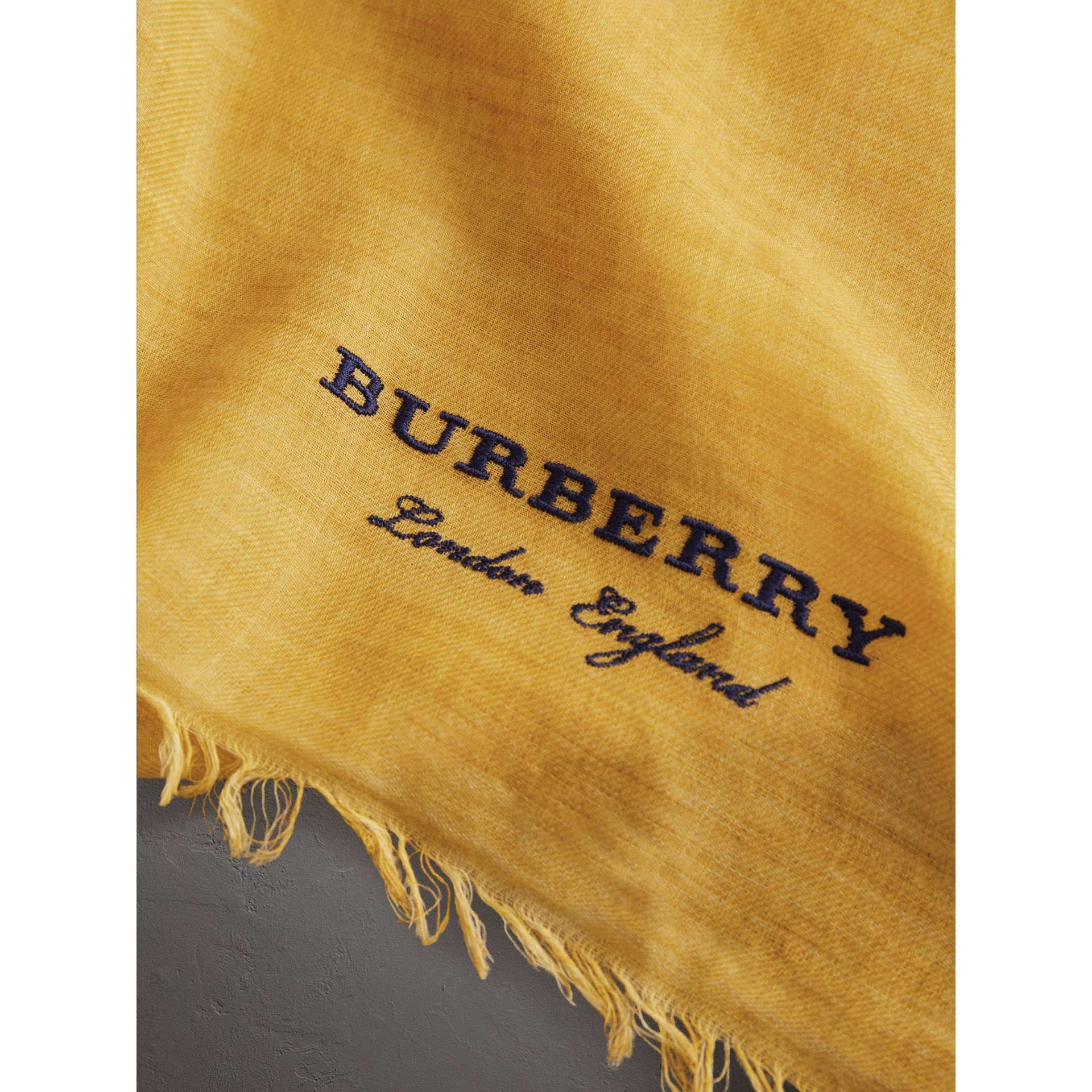 Embroidered Cashmere Cotton Scarf in Bright Yellow | Burberry - gallery image 1