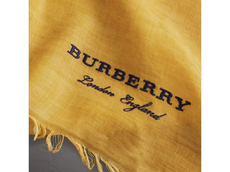 Embroidered Cashmere Cotton Scarf in Bright Yellow | Burberry - cell image 1