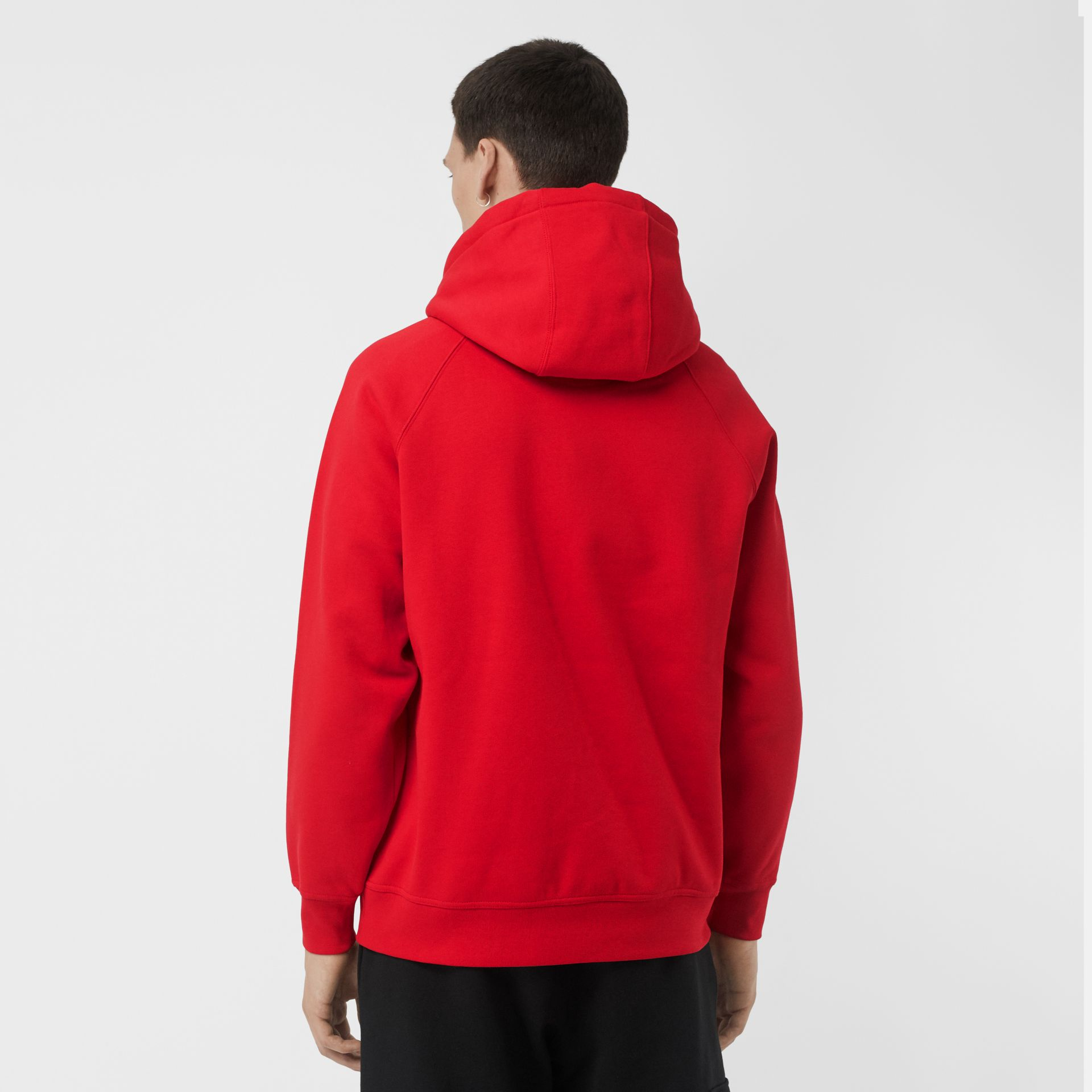 Embroidered Logo Jersey Hoodie in Bright Red - Men | Burberry Singapore - gallery image 2