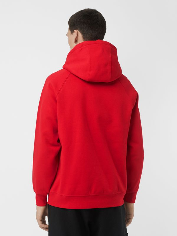 Embroidered Logo Jersey Hoodie in Bright Red - Men | Burberry United Kingdom - cell image 2