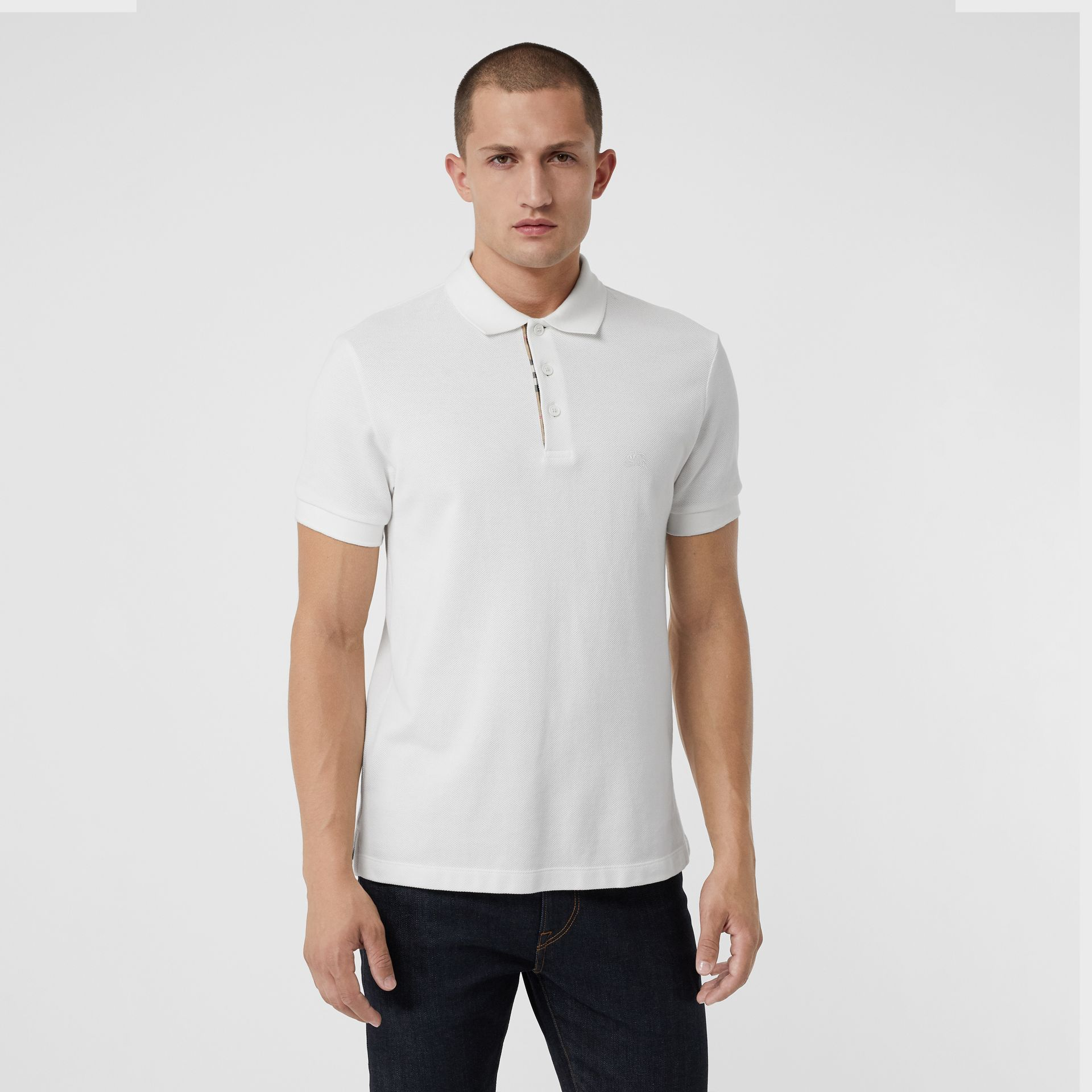 Check Placket Cotton Polo Shirt in White - Men | Burberry - gallery image 0