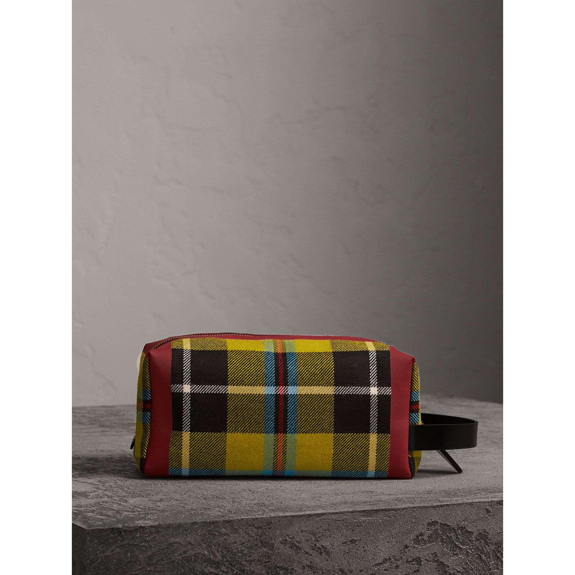 Tartan Cotton Pouch in Ochre Yellow | Burberry - gallery image 7
