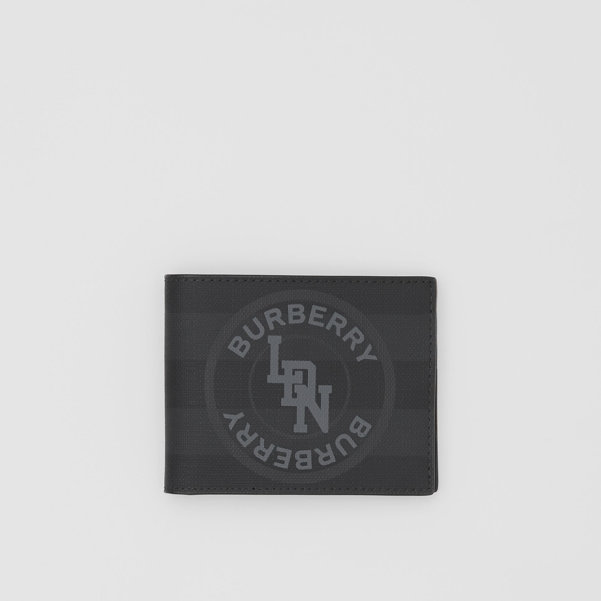 Logo Graphic London Check Bifold Wallet in Dark Charcoal - Men | Burberry - gallery image 0