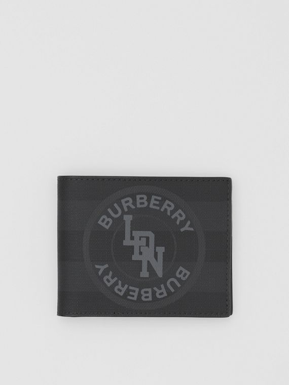 Logo Graphic London Check Bifold Wallet in Dark Charcoal