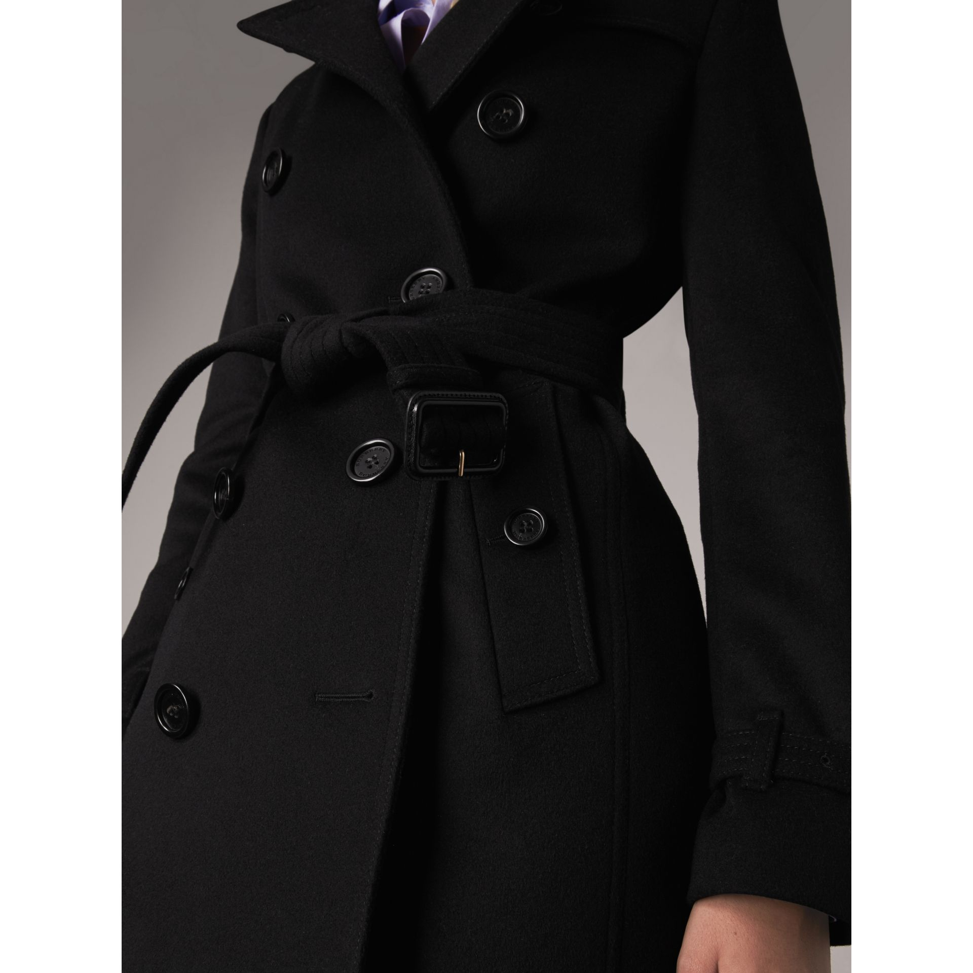 Wool Cashmere Trench Coat in Black - Women | Burberry - gallery image 2