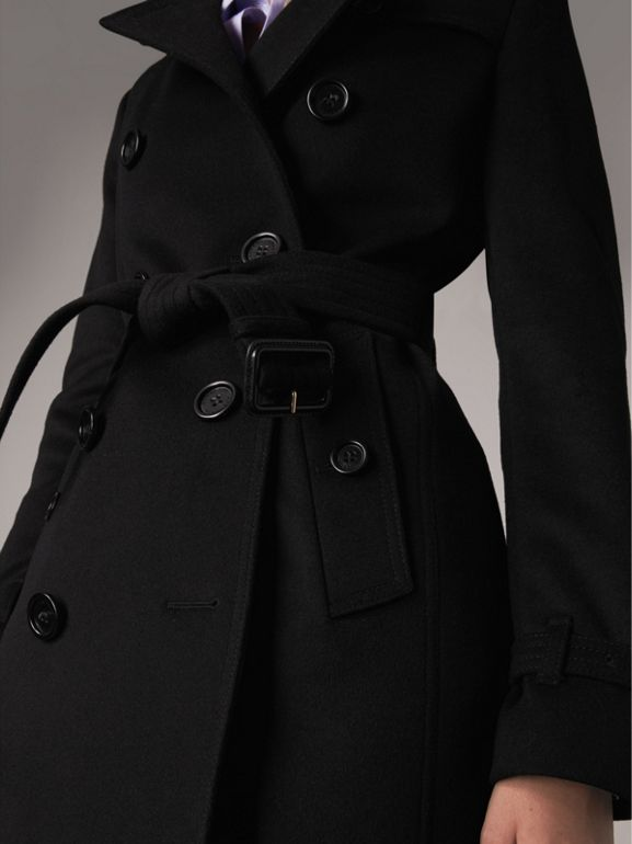 Wool Cashmere Trench Coat in Black - Women | Burberry - cell image 1