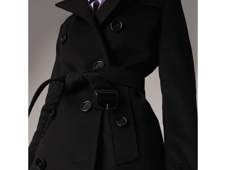 Wool Cashmere Trench Coat in Black - Women | Burberry United Kingdom - cell image 1