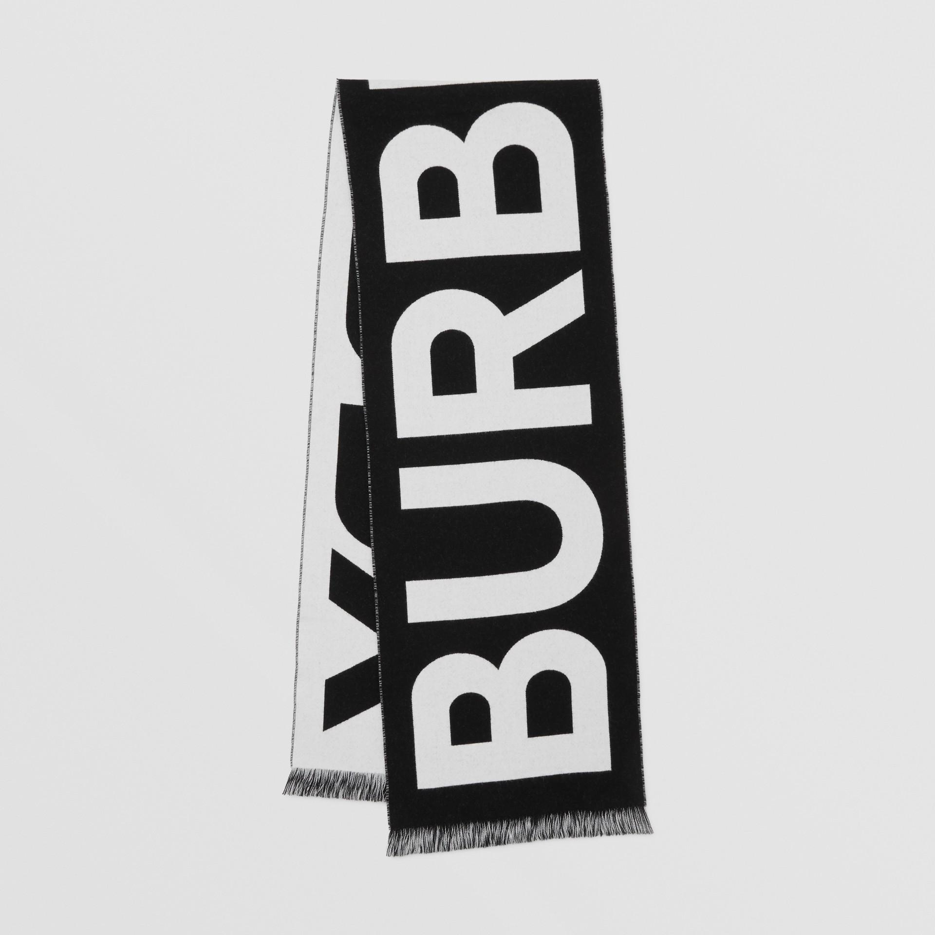 徽標羊毛提花圍巾 (黑色) | Burberry - 圖庫照片 0