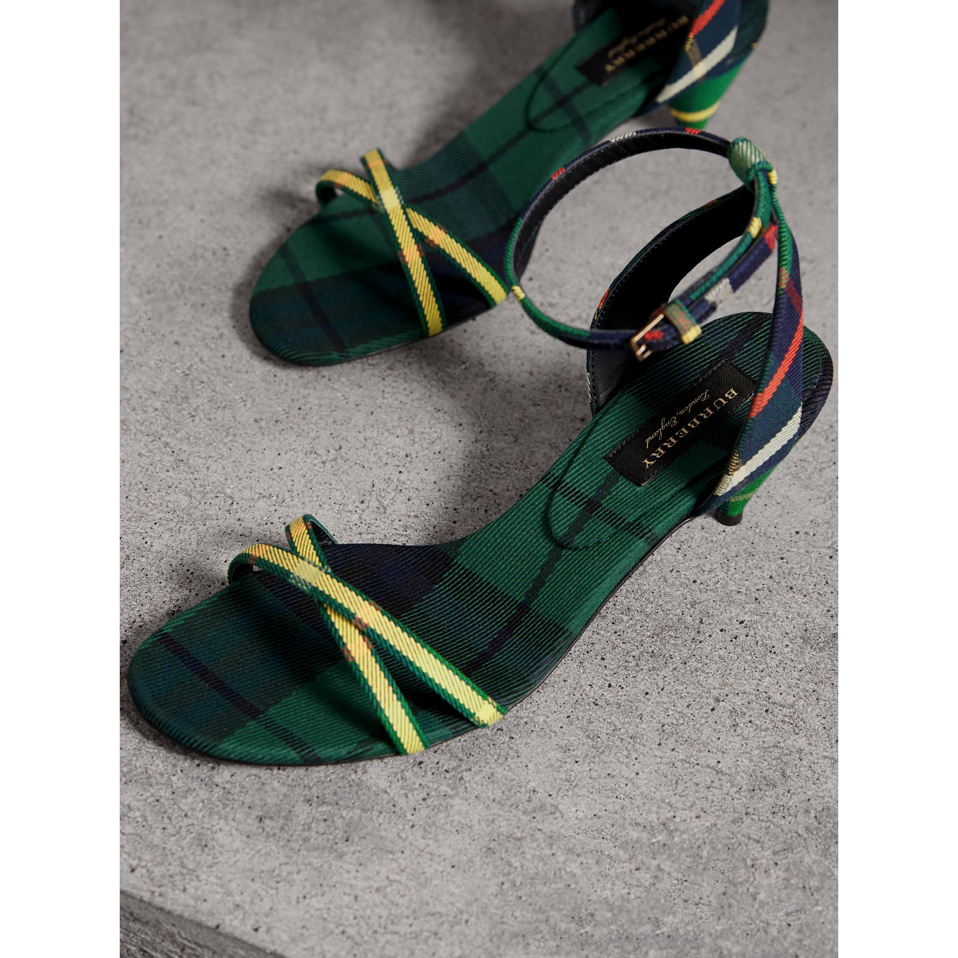 Tartan Cotton Cone-heel Sandals in Forest Green - Women | Burberry - gallery image 3