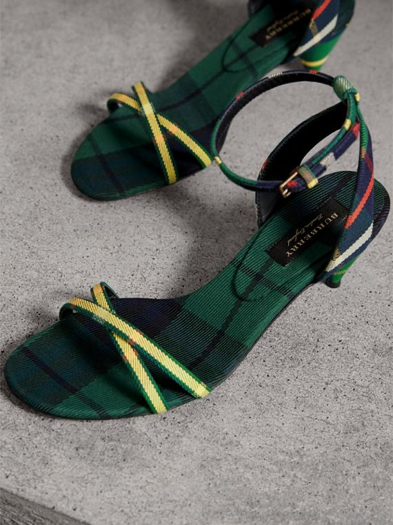 Tartan Cotton Cone-heel Sandals in Forest Green - Women | Burberry Australia - cell image 3