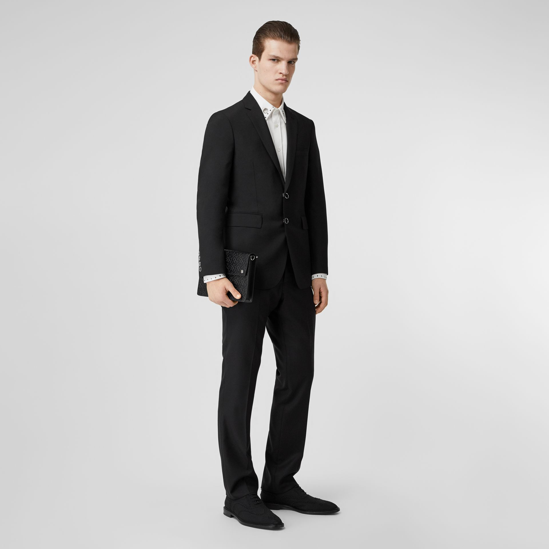 Slim Fit Press-stud Tumbled Wool Tailored Jacket in Black - Men | Burberry - gallery image 0
