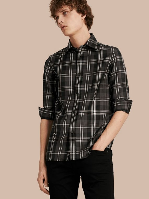 Check Wool Shirt Black