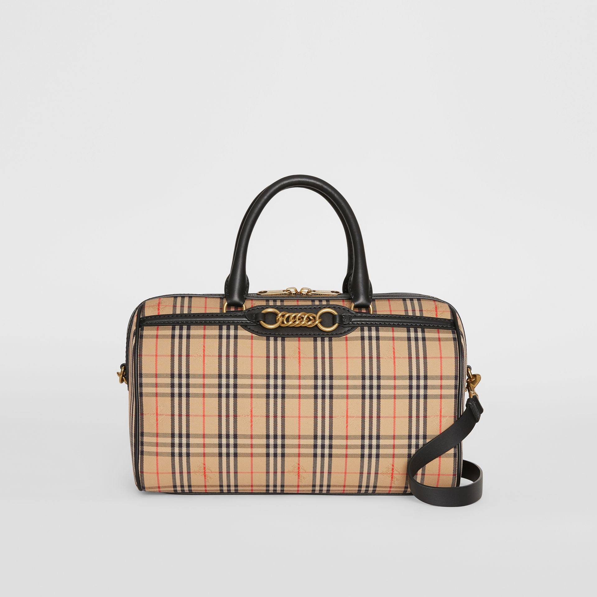 The Medium 1983 Check Link Bowling Bag in Black - Women | Burberry - gallery image 0