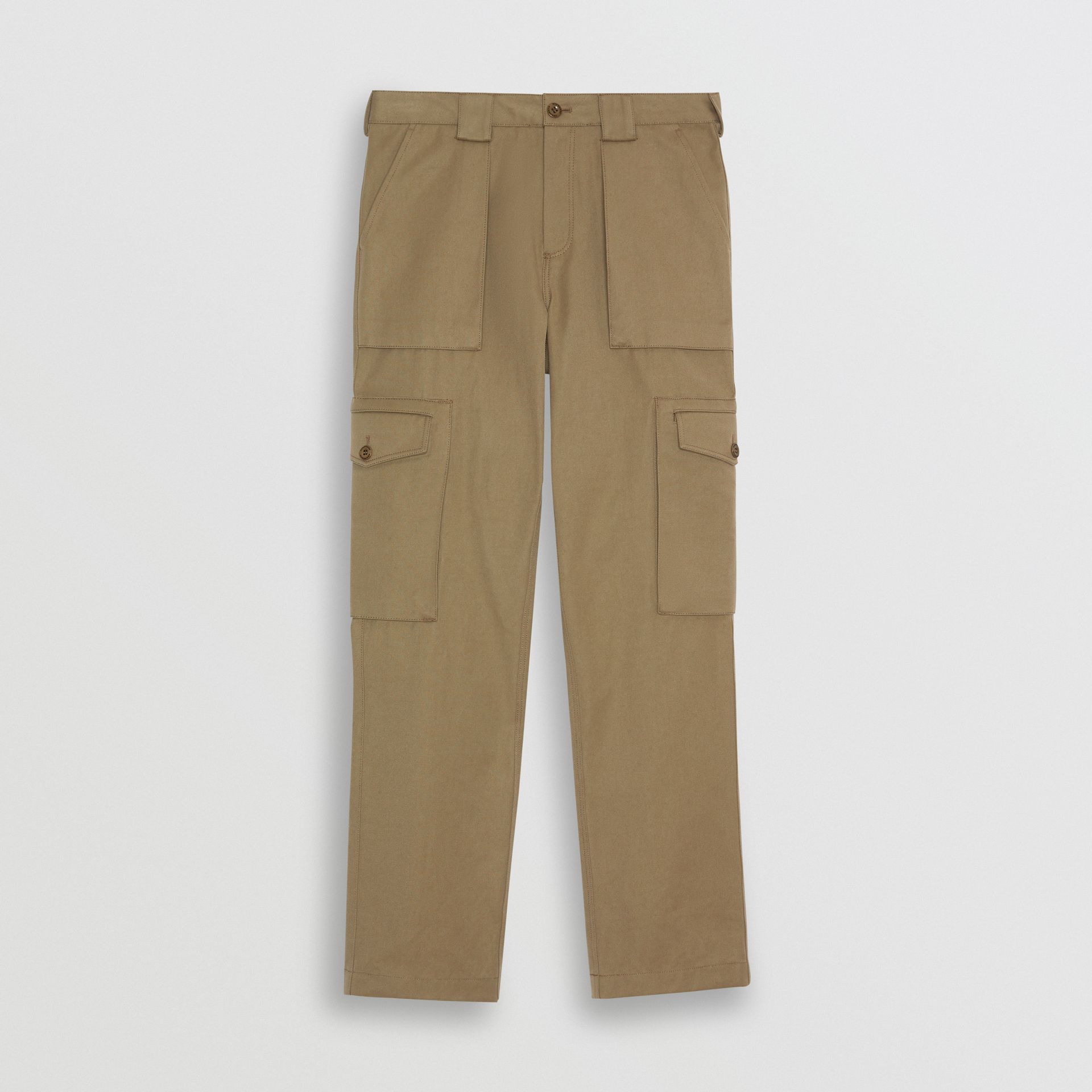 Technical Cotton Twill Cargo Trousers in Khaki - Men | Burberry - gallery image 3