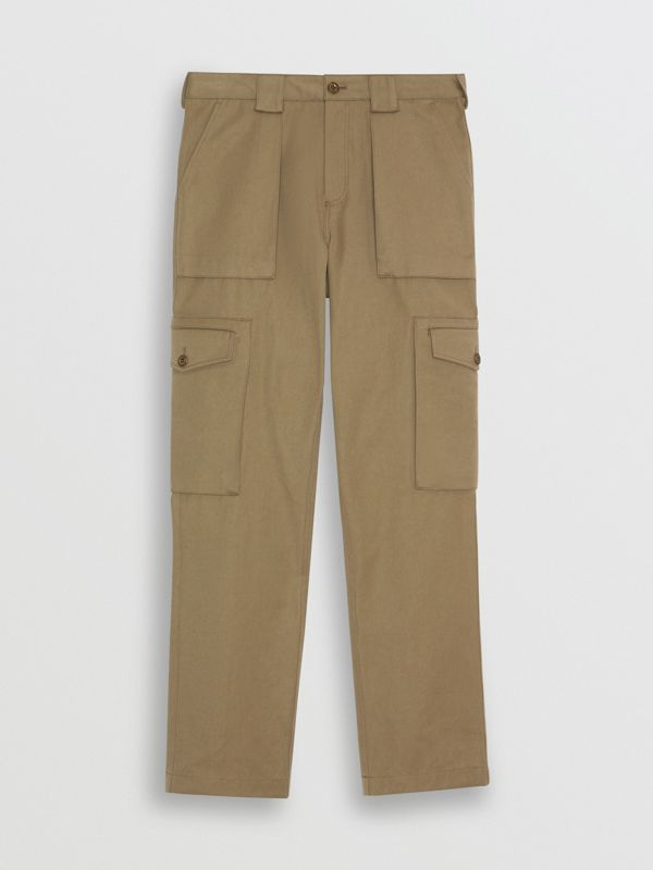 Technical Cotton Twill Cargo Trousers in Khaki - Men | Burberry - cell image 3
