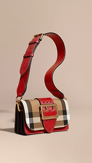 The Buckle Bag in House Check and Leather Military Red/military Red