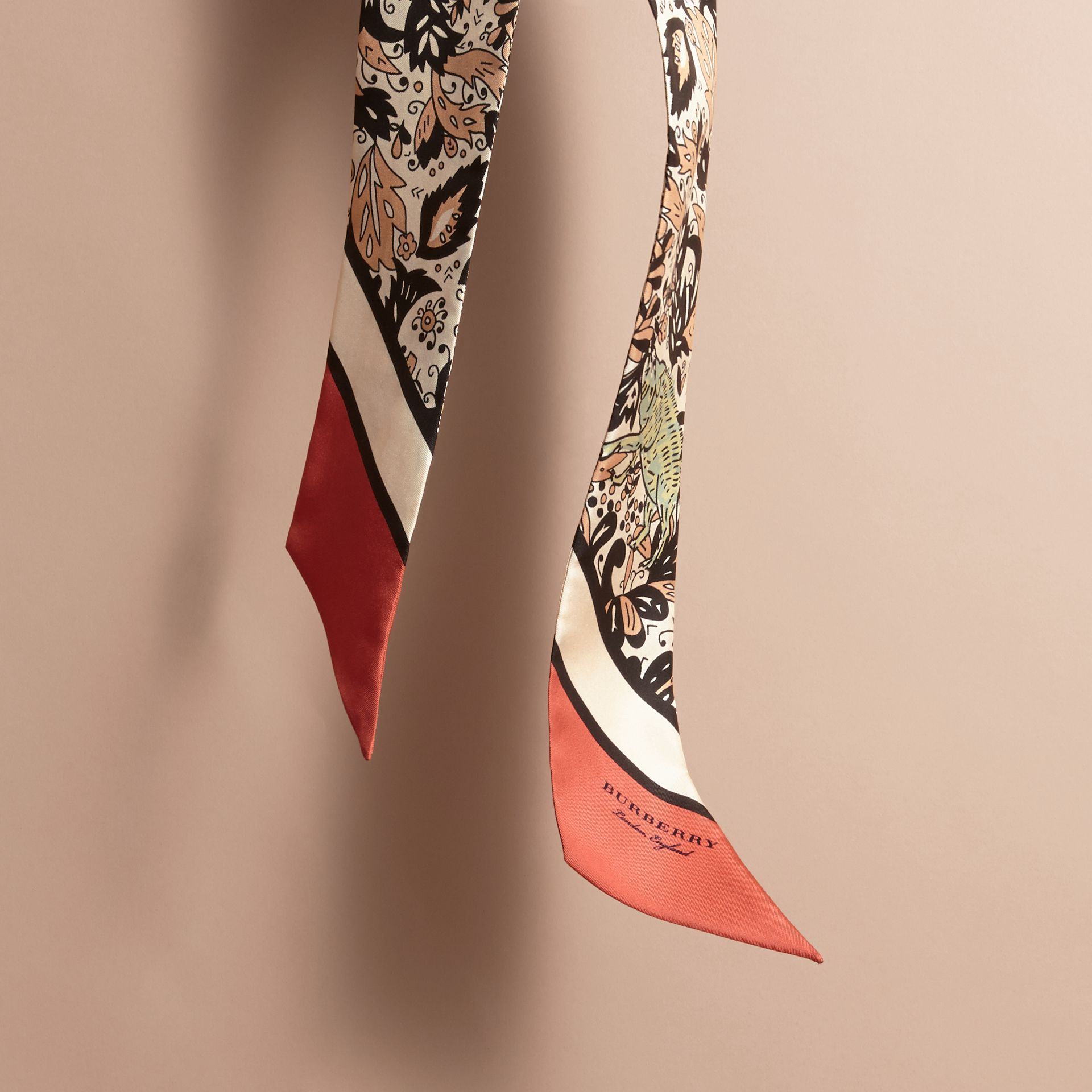 Beasts Print Silk Slim Scarf in Antique Taupe Pink - Women | Burberry - gallery image 4