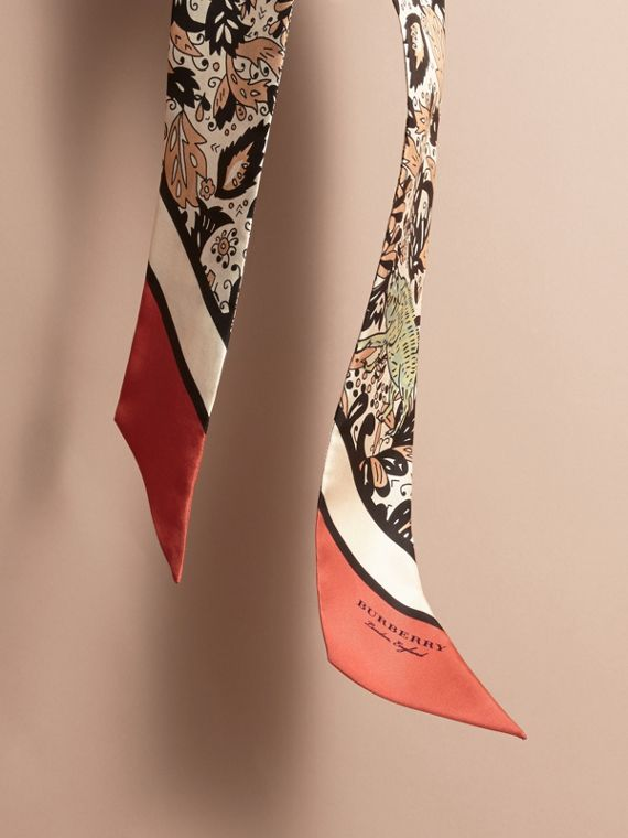 Beasts Print Silk Slim Scarf in Antique Taupe Pink - Women | Burberry - cell image 3