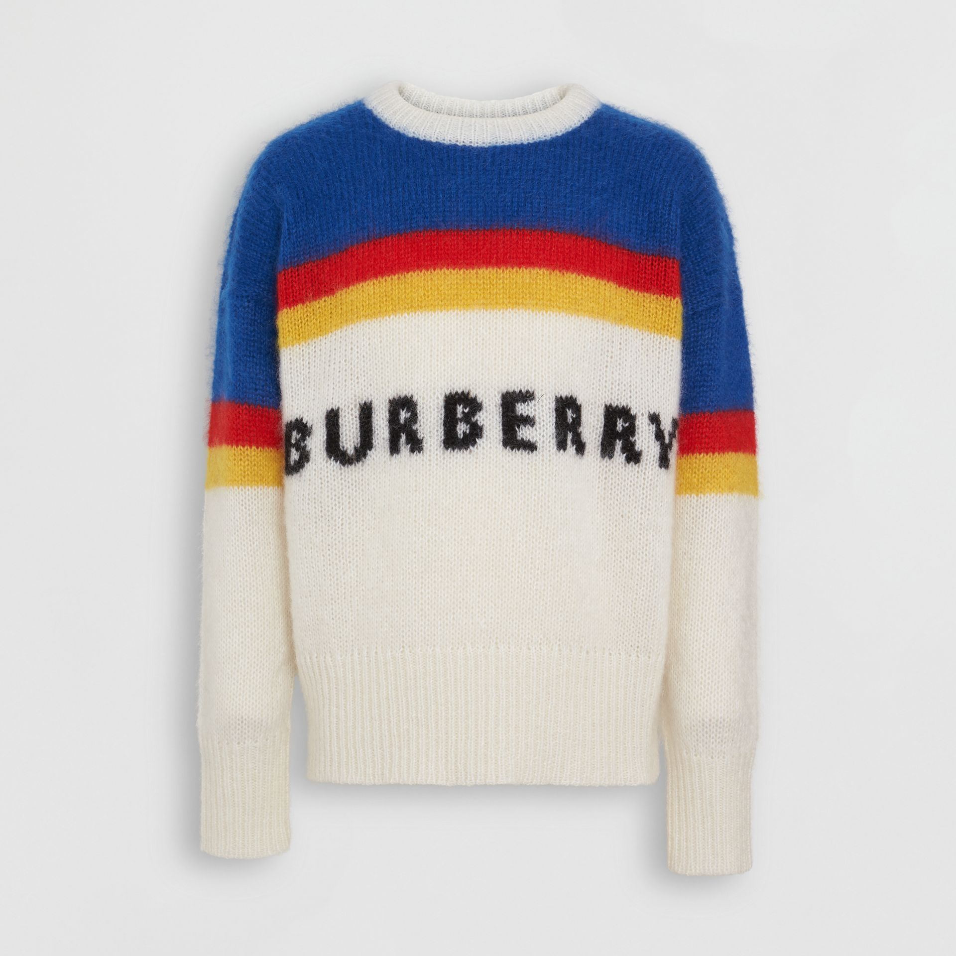 Striped Logo Intarsia Mohair Wool Blend Sweater in Cerulean Blue - Men | Burberry - gallery image 3