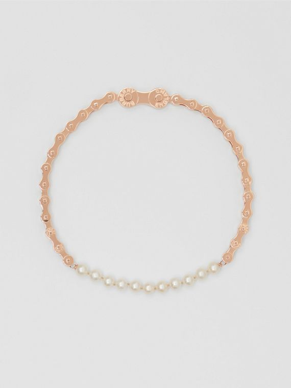Pearl Detail Bicycle Chain Rose Gold-plated Necklace