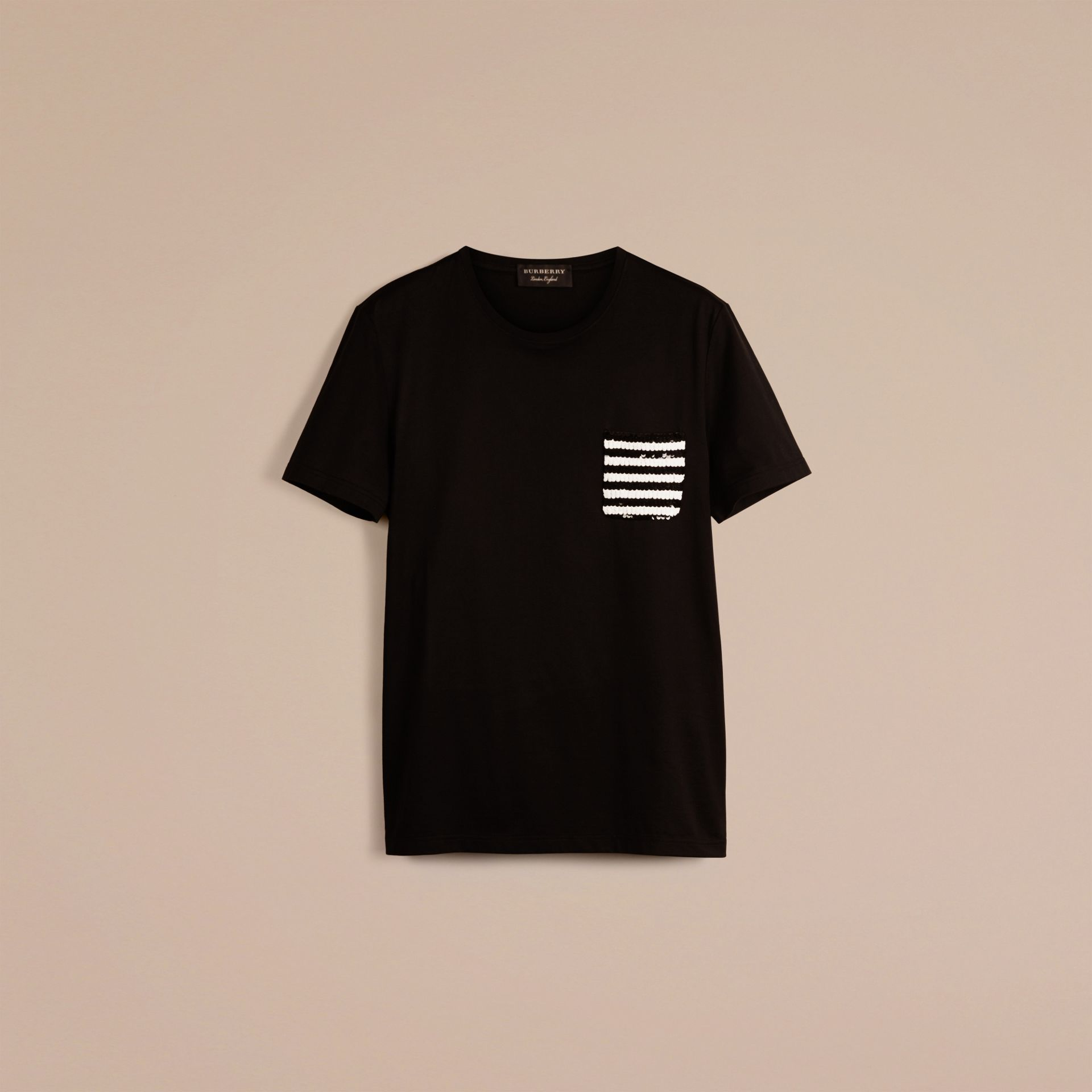 Black Cotton T-shirt with Sequin Stripe Detail Black - gallery image 3