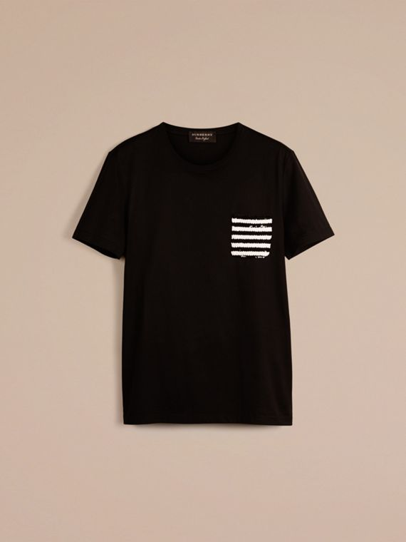 Black Cotton T-shirt with Sequin Stripe Detail Black - cell image 2