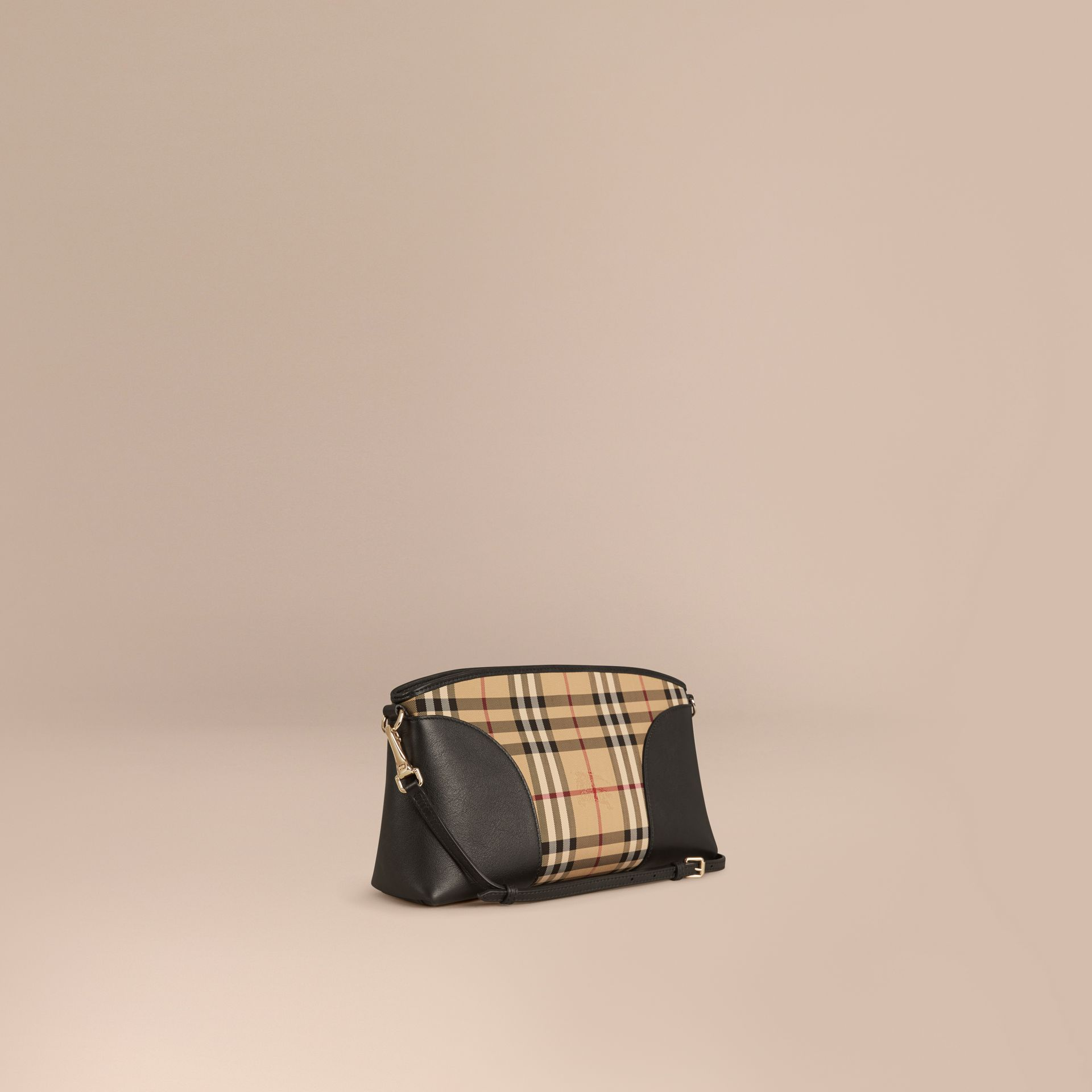 Horseferry Check and Leather Clutch Bag in Honey/black - gallery image 1