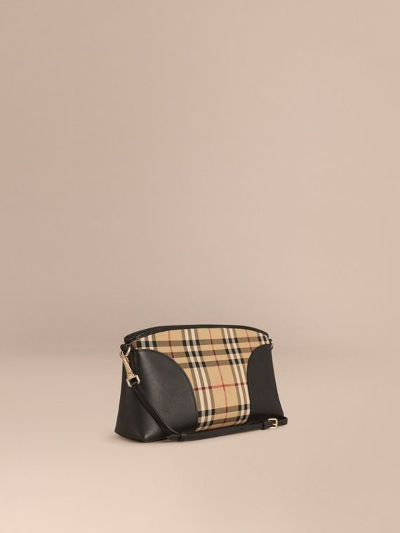 Horseferry Check and Leather Clutch Bag Honey/black