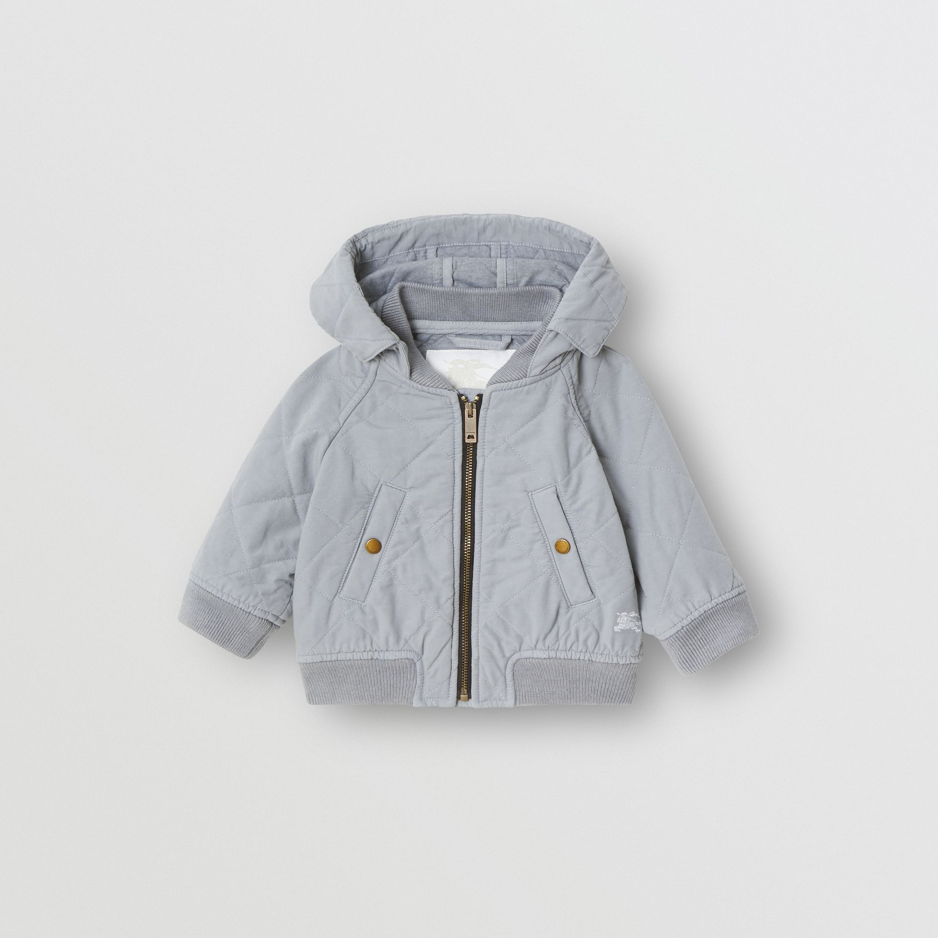 Diamond Quilted Cotton Hooded Jacket in Dusty Blue - Children | Burberry - gallery image 0