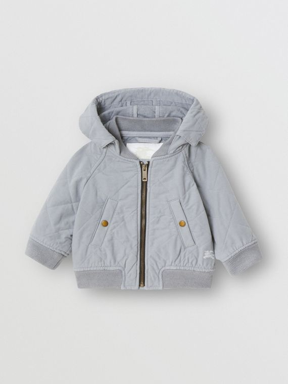 Diamond Quilted Cotton Hooded Jacket in Dusty Blue