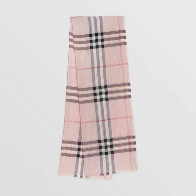 Burberry - Écharpe en laine et soie avec motif check métallisé - 1