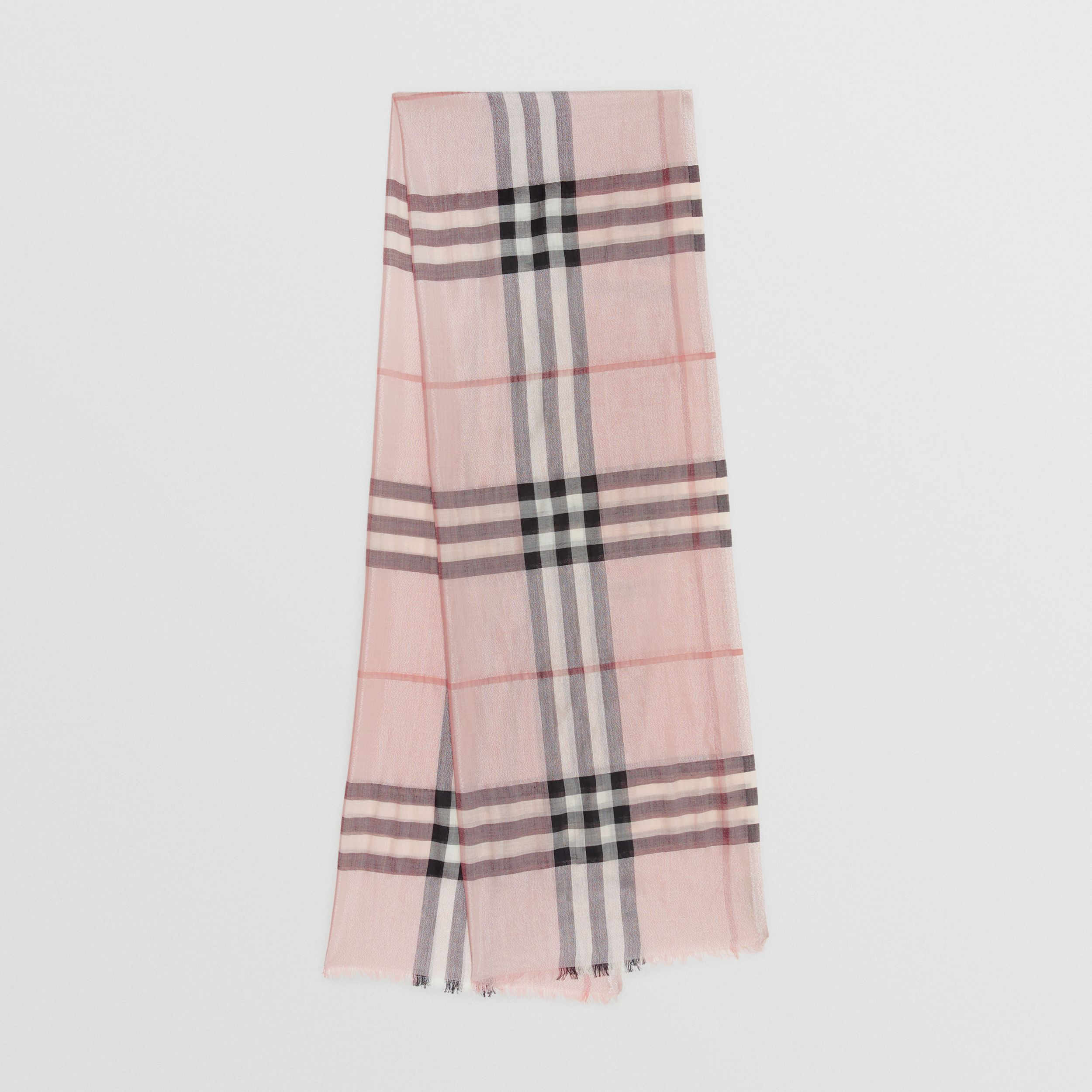 Metallic Check Silk and Wool Scarf in Ash Rose/silver | Burberry - 1
