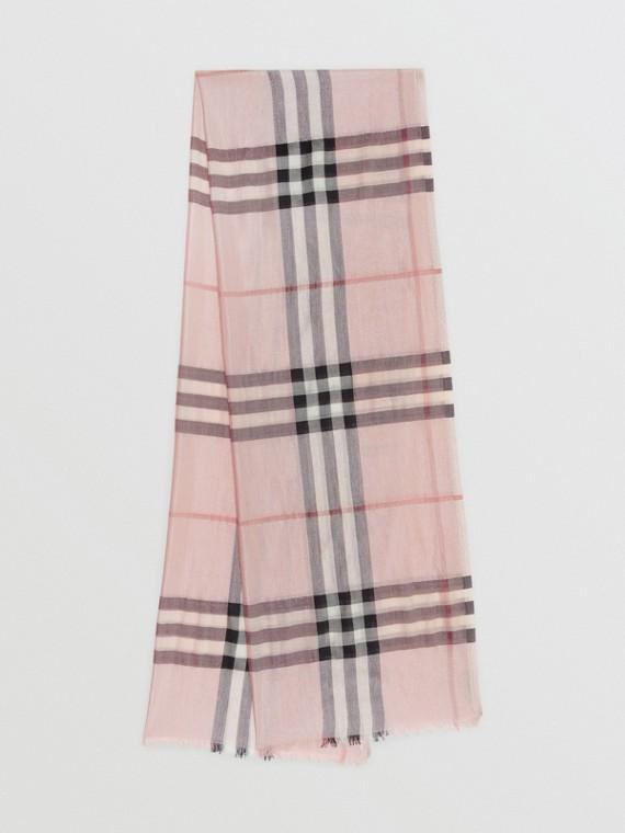 Echarpe de lã e seda com estampa xadrez metalizada (Rosa Bebê/prata)