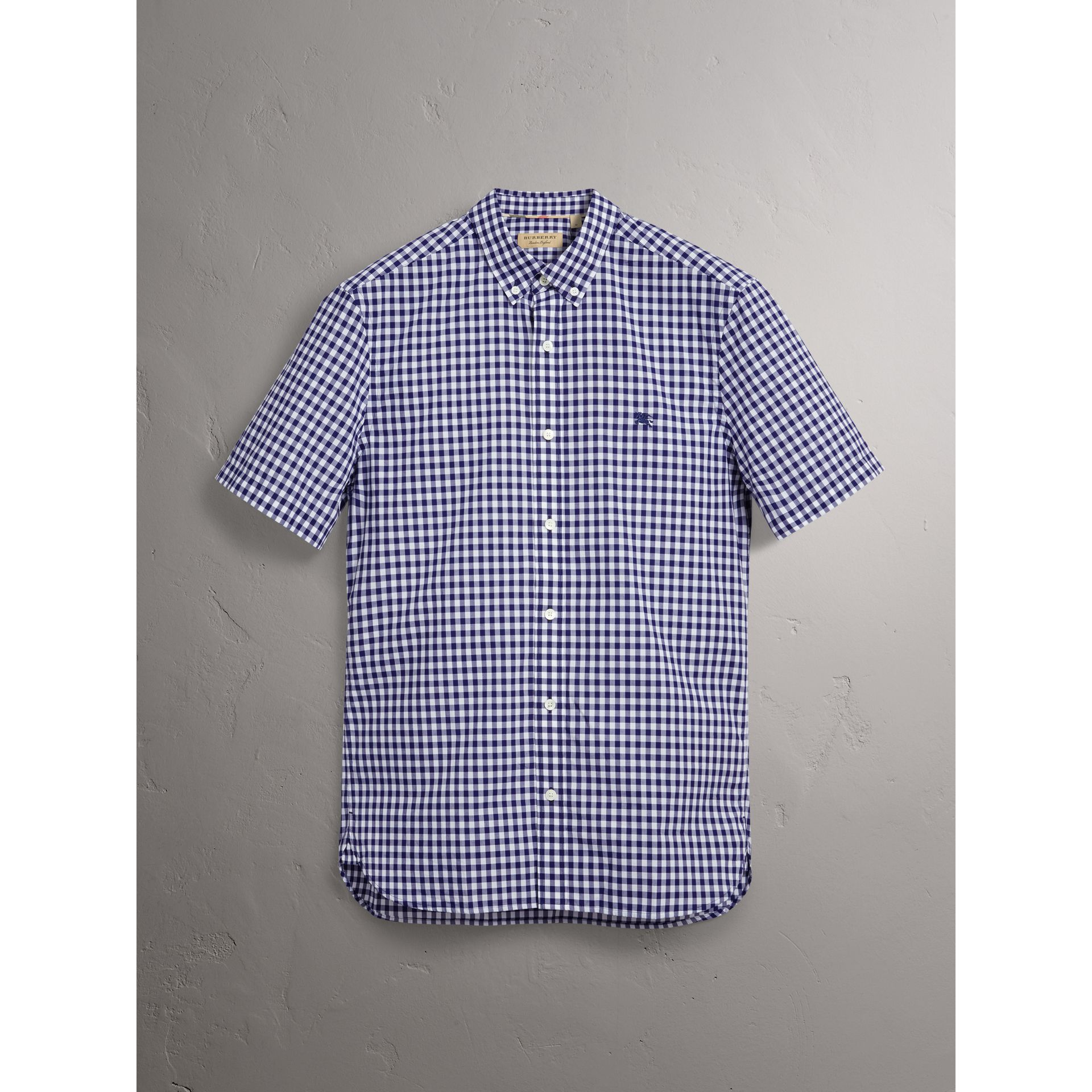 Short-sleeve Button-down Collar Cotton Gingham Shirt in Navy - Men | Burberry - gallery image 3