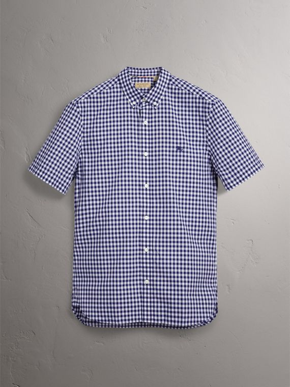 Short-sleeve Button-down Collar Cotton Gingham Shirt in Navy - Men | Burberry United States - cell image 3