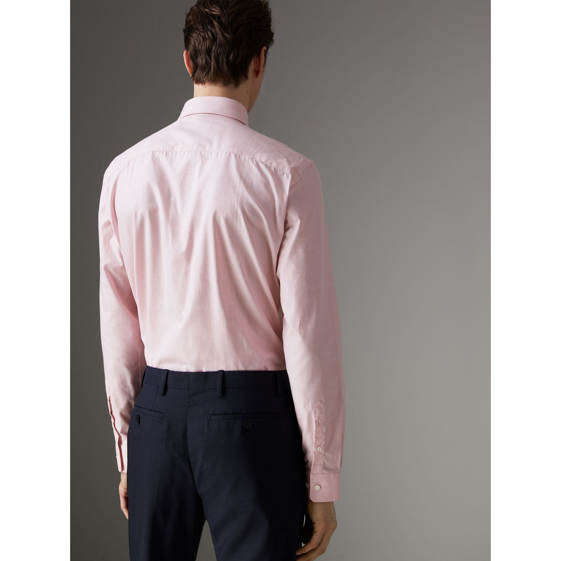Modern Fit Check Cotton Shirt in Light Pink - Men | Burberry - gallery image 2