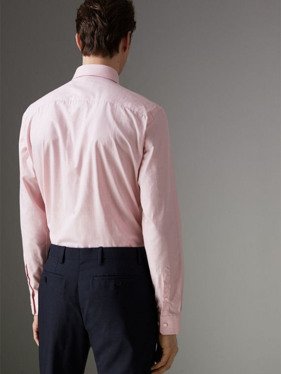 Modern Fit Check Cotton Shirt in Light Pink - Men | Burberry - cell image 2