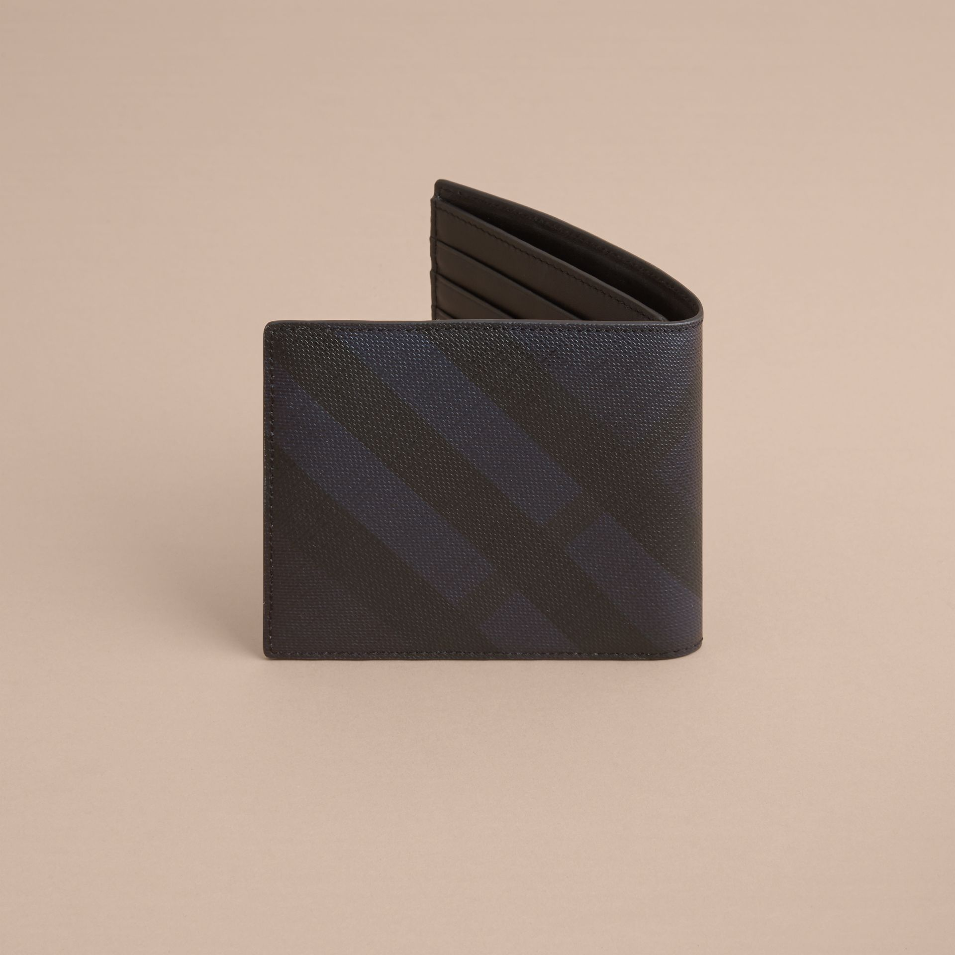 London Check International Bifold Wallet in Navy/black - Men | Burberry - gallery image 4
