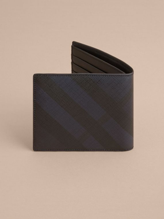 London Check International Bifold Wallet in Navy/black - Men | Burberry - cell image 3