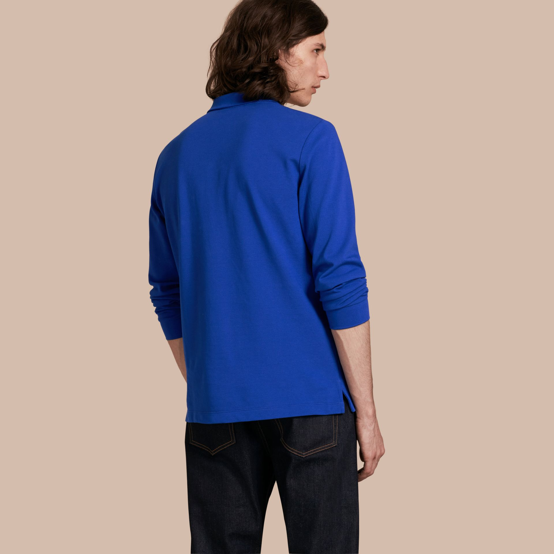 Check Placket Long Sleeve Polo Shirt Brilliant Blue - gallery image 3