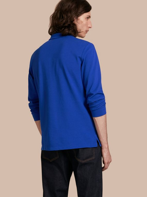 Check Placket Long Sleeve Polo Shirt Brilliant Blue - cell image 2