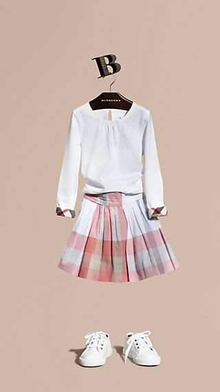 Pleat Detail Check Cotton Skirt