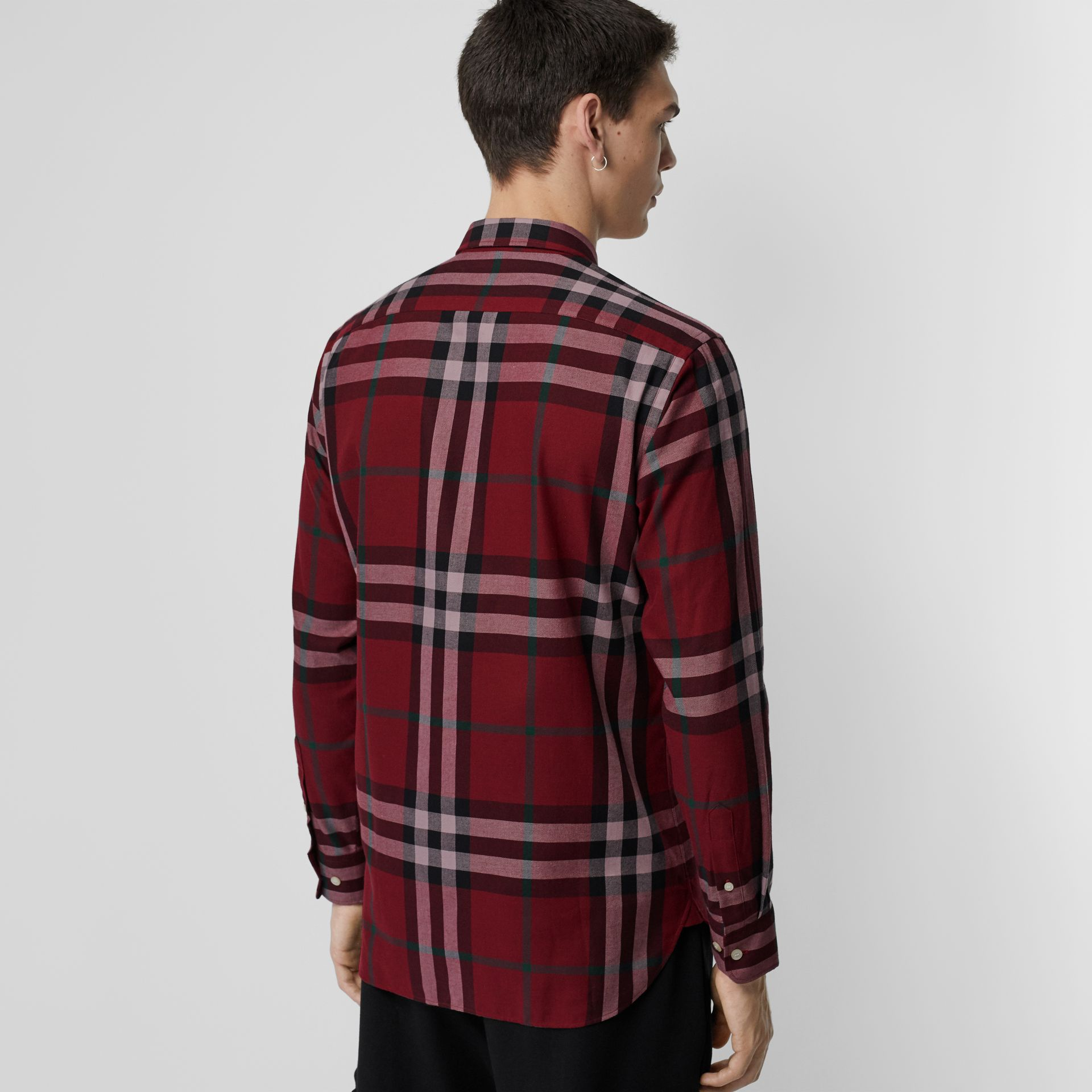 Check Cotton Flannel Shirt in Crimson - Men | Burberry Canada - gallery image 2