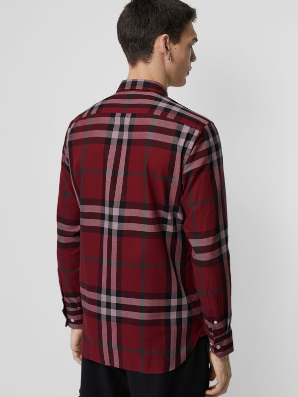Check Cotton Flannel Shirt in Crimson - Men | Burberry - cell image 2