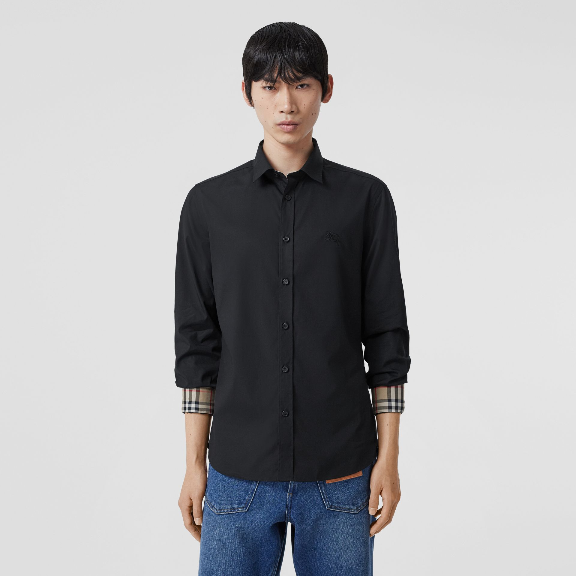 Slim Fit Embroidered EKD Stretch Cotton Shirt in Black - Men | Burberry - gallery image 5