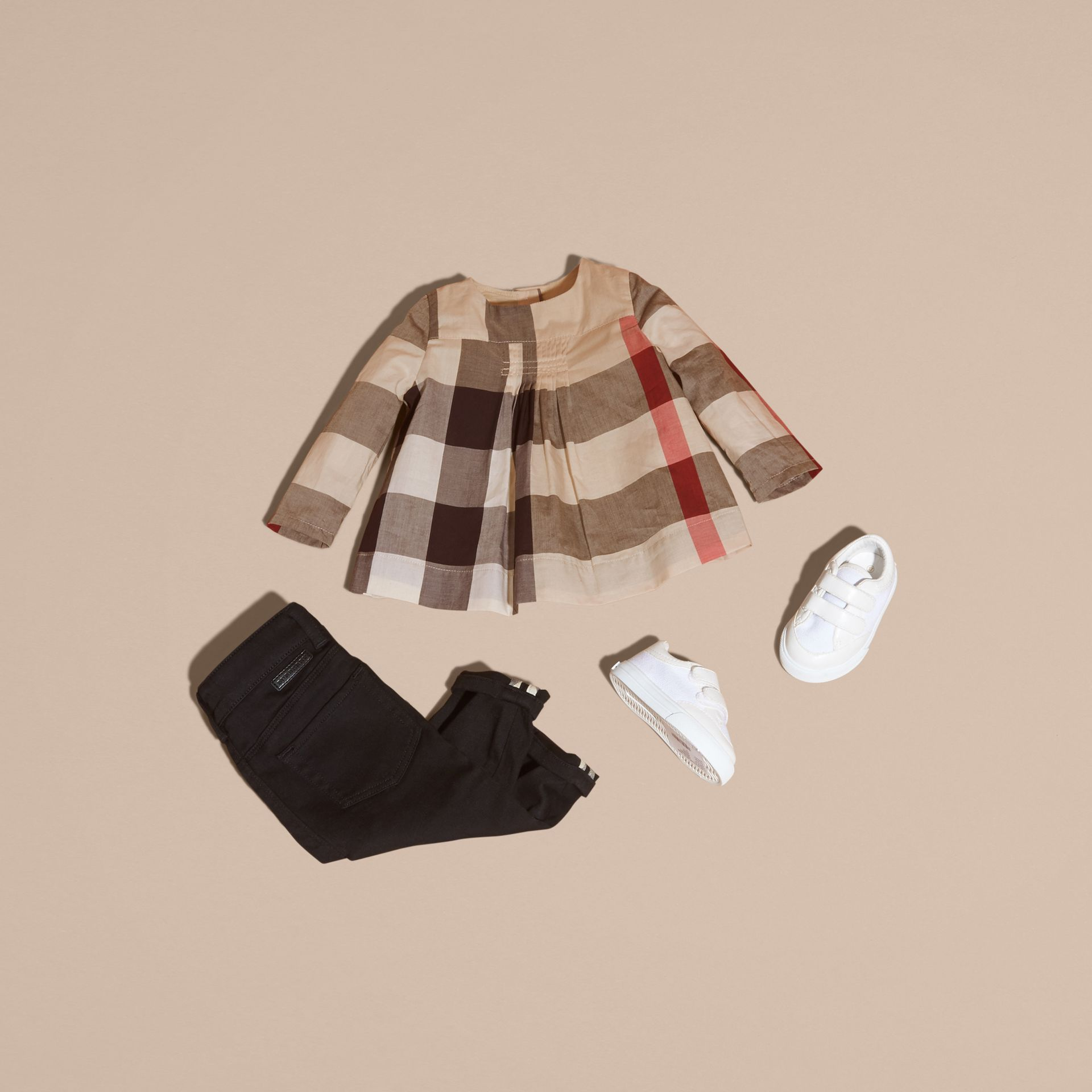 New classic check Collarless Check Cotton Blouse - gallery image 5