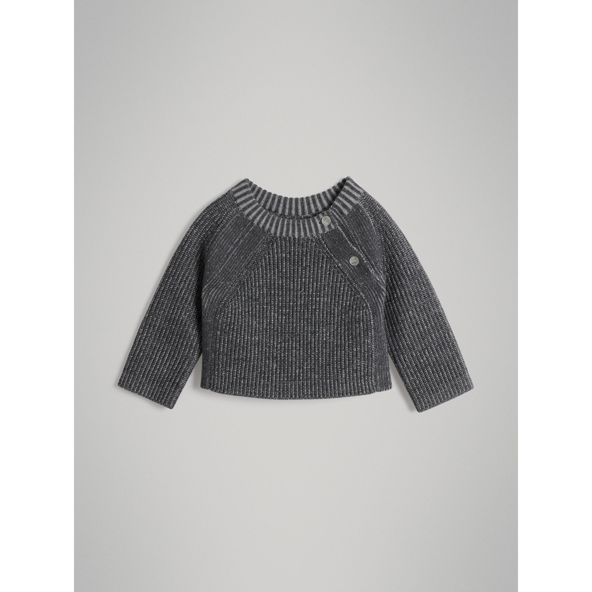 Rib Knit Merino Wool Sweater in Grey Melange - Children | Burberry - gallery image 0