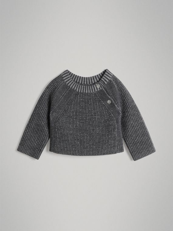 Rib Knit Merino Wool Sweater in Grey Melange