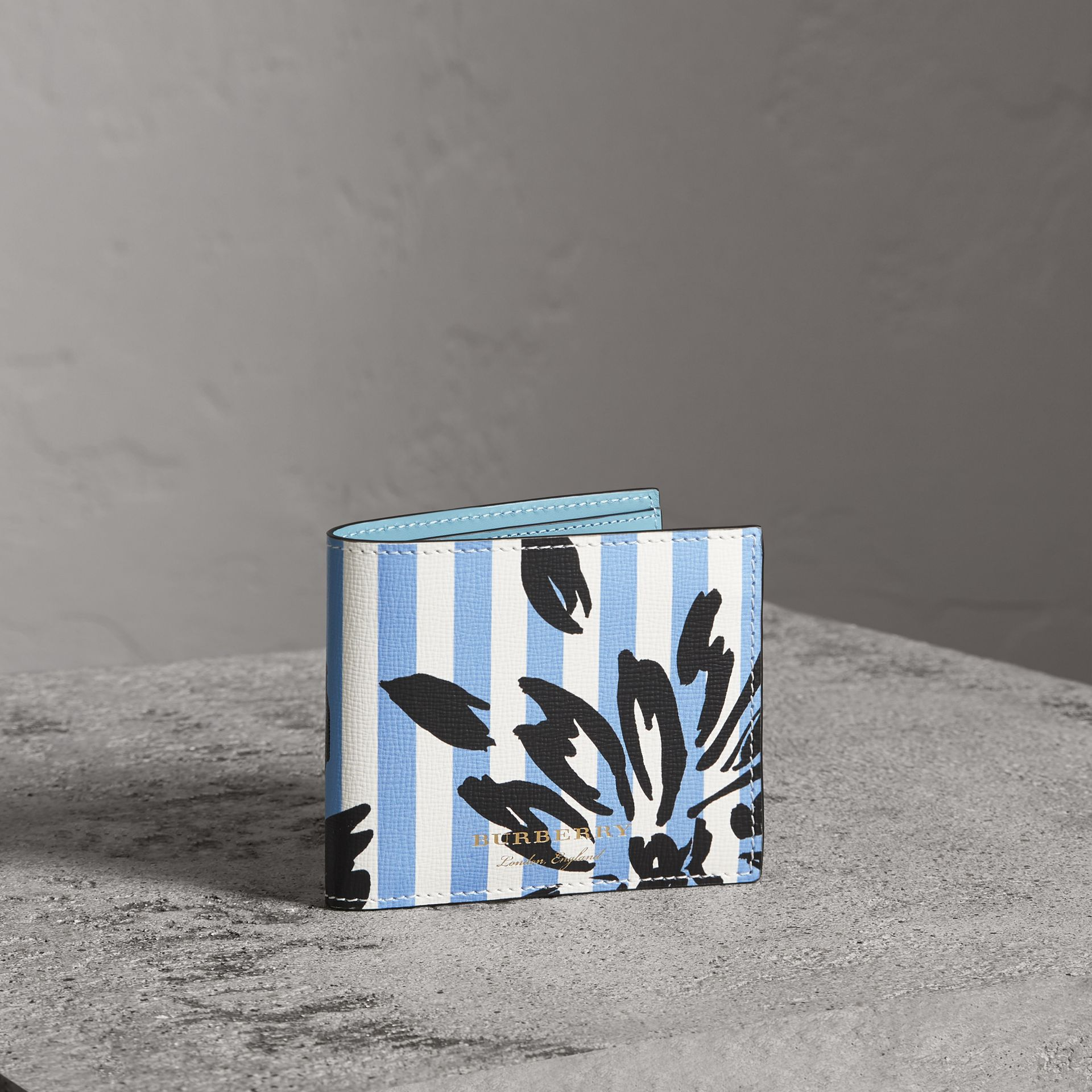 Floral Stripe Print International Bifold Wallet in Patchwork - Men | Burberry Singapore - gallery image 0